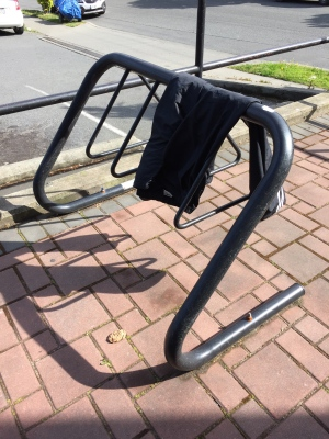 Left your pants on a bike rack... should make for a chilly ride home